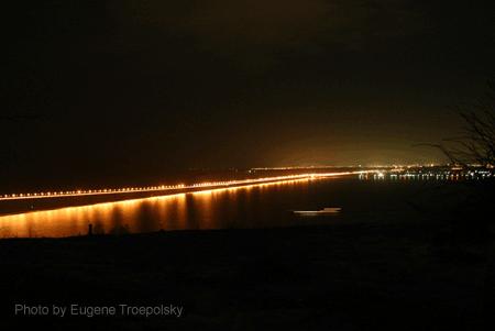 Новый мост в ночное время