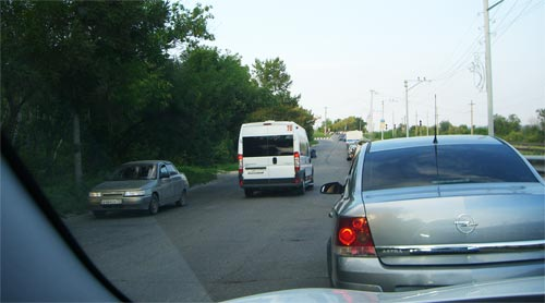 Пробка на Императорском мосту в Ульяновске