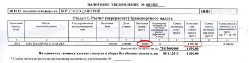 Транспортный налог - 2012 год